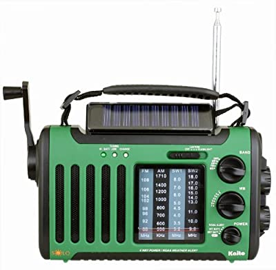 Kaito Voyager Solo KA450 Solar/Dynamo AM/FM//SW & NOAA Weather Emergency Radio with Alert & Cell Phone Charger, Color Green from Kaito