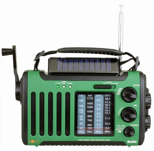 Kaito Voyager Solo KA450 Solar/Dynamo AM/FM//SW & NOAA Weather Emergency Radio with Alert & Cell Phone Charger, Jeep Style, Color Green