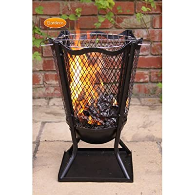 Traditional Outdoor Large Steel Flower Brazier H575cm Complete With Barbeque Grill - Ideal For Burning Garden Rubbish