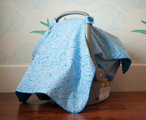 Carseat Canopy (Noa) Baby Infant Car Seat Cover W/Attachment Straps And Minky Fabric front-3283