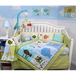 SoHo Gold Fish Aquarium Baby Crib Bedding Set 13 pcs included Diaper Bag with Changing Pad & Bottle Case