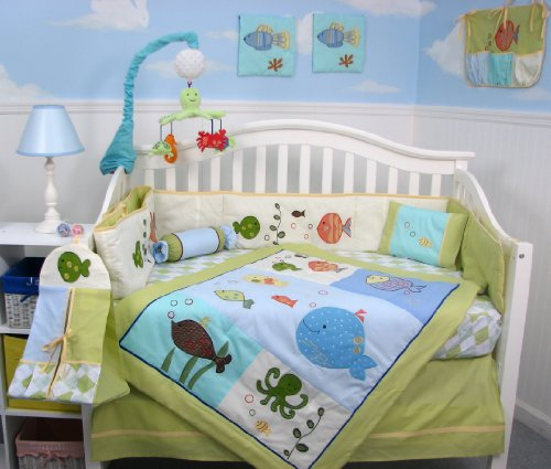 SoHo Gold Fish Aquarium Baby Crib Bedding Set 13 pcs included Diaper Bag with Changing Pad and Bottle Case