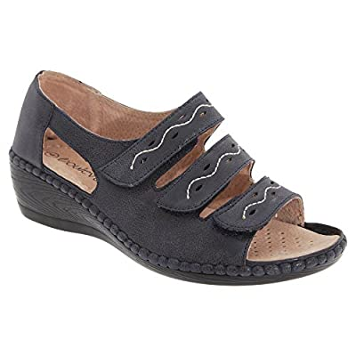 Boulevard Womens/Ladies Wide Fitting 3 Bar Touch Fastening Wedge Sandals