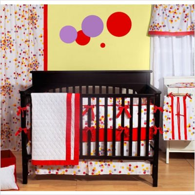 Bacati Sateen Confetti 4 Piece Crib Bedding Set