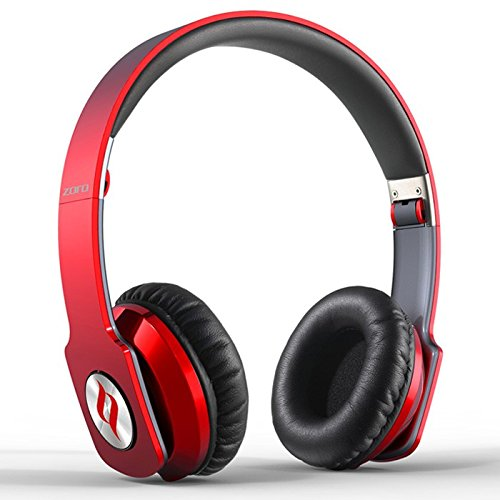 Noontec Zoro Adjustable On Ear Stereo Hi-Fi Earphone Headphone For Pc Mp3 Mp4 Ipod Iphone Ipad Tablet Cellphone Mobile Phone, Red