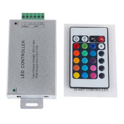Lemonbest 24 Button Wireless Rgb Led Controller, Ir Remote Dimmer For 5050 3528 Rgb Led Strip Light, Dc 12V-24V