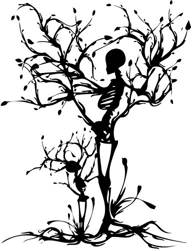 YINGKAI Personality Skull Tree Propose Living Room Vinyl Carving Wall Decal Sticker For Halloween Party Home Decoration