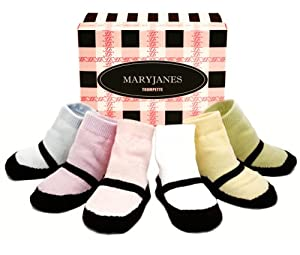 Trumpette Toddler Socks Mary Jane Pastels Sixe 1-2 Years 6 Pairs in a Gift Box