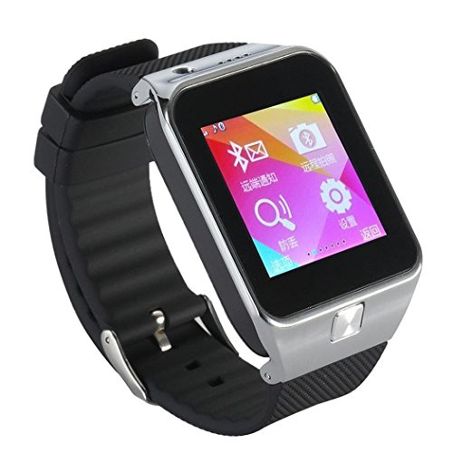 Qkking GV09 1.55 inch1.3 M Smart Watch HD Touch Screen Wristwatch Bluetooth Sports Phone watch with Anti-lost SMS Sync Pedometer Sleep Monitoring Stopwatch Photograph Function Support SIM/TF Card for iOS,MIUI Android Phone Samsung Sony LG Huawei MI MEIZU BlackBerry HTC-Sliver