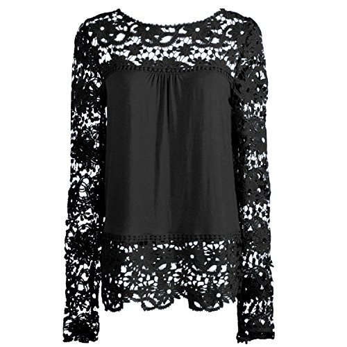 Elite99 Women Long Sleeve Embroidery Lace Chiffon Tops