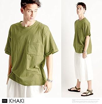 無地 胸ポケット付き ワイド ビッグ クルーネック 半袖 Tシャツ 日本製 国産 カットソー ストリートモード メンズ カーキ FREEサイズ