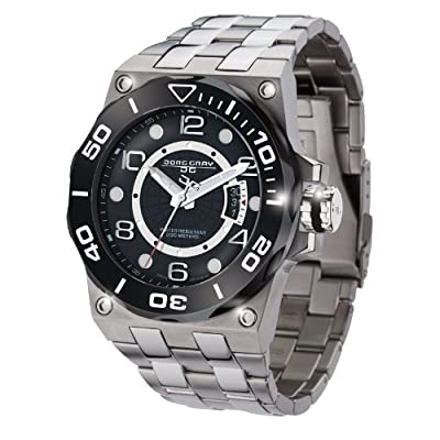 Jorg Gray JG9600-13 Silver Black Textured 3 Hand Mens Wrist Watch