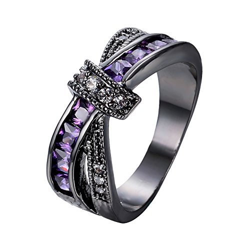 Bamos Jewelry Purple Diamond Halloween Best Friend Engagement Wedding Black Gold Rings for Womens and Girls Size 9 (Cheap White Gold Rings compare prices)