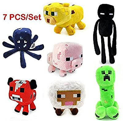 7pcs/set Minecraft Enderman Creeper Mooshroom Pig Cat Sheep Squid Game Overwold Soft Plush Toys Kit Stuffed Aminal Dolls