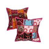 Rajrang Home Furnishing Patch Work Cotton Cushion Cover Set Of 2 Pcs