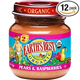 Earth's Best 2nd Organic Pears & Raspberries 4 Ounce Jars (Pack of 12)