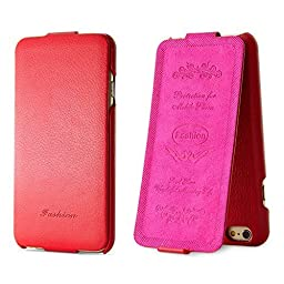 iPhone 6 6S Case,BELK [Up & Down] Series Flip Genuine Leather Case - [RUB BUMPER] Vertical Folio Case for iPhone 6 / 6S, 2015 SEP - Red