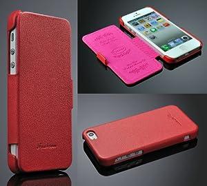 Iphone 5 / 5s Hülle, ***ECHT LEDER - HANDGEFERTIGT*** - Zubehör Case Etui IPhone Flip Case Schutzhülle - Farben SCHWARZ, BRAUN, WEISS, ROT, PINK - (Rot)