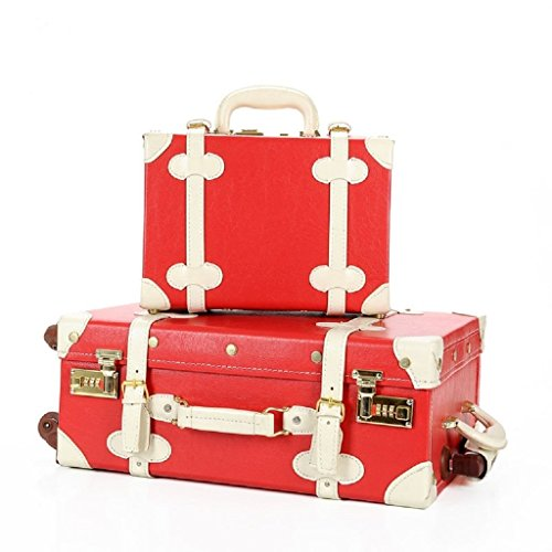 DPIST® Luggage Sets On Sale Vintage & Retro Style Carry-On Trolley Luggage and Cosmetic Tote Bag Set 0