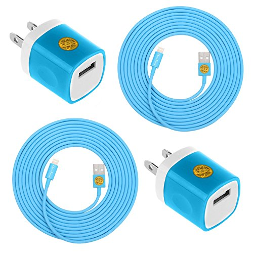 2PCS of 10FT (3M) Heavy Duty Lightning 8-Pin Cable 8-Pin Charger Cord & 2PCS USB Wall Charger Travel Adapter for iPhone 6S, 6S Plus, iPhone SE (Blue) (Lightning Cord Wall Adapter compare prices)