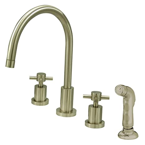 Kingston Brass KS8728DX Concord Widespread Kitchen Faucet With Sprayer, Satin Nickel