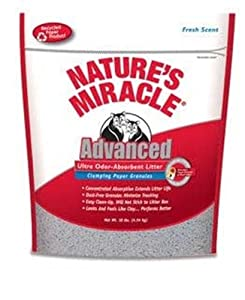 Nature's Miracle Advanced Ultra Odor-Absorbent Clumping Paper Litter, 10-Pounds (P-5743)