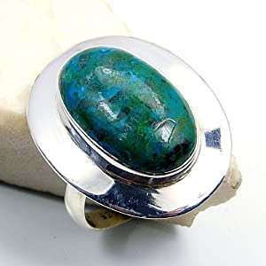 'Mermaid's Treasure' Chrysocolla & Sterling Silver Ring Size 8