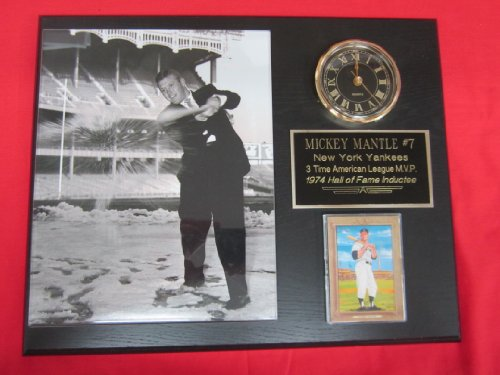 Mickey Mantle New York Yankees Collectors Clock Plaque w/8x10 RARE SNOWBALL Photo and Card