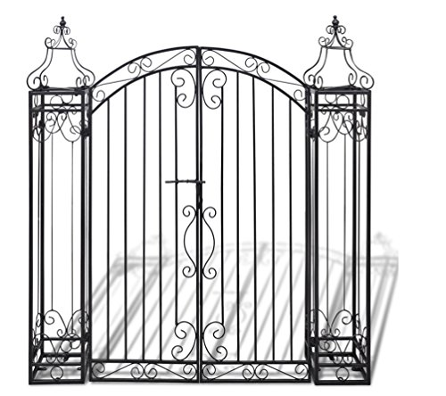 Garden Driveway Fence Gate with Ornamental Design from Wrought Iron Ideal for Patio or Porch Entrance