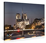 Large Canvas Print Wall Art - LIGHTED NOTRE-DAME DE PARIS - 40x30 Inch Paris Cityscape Canvas Picture Stretched On A Wooden Frame - Giclee Canvas Printing - Hanging Wall Deco Picture / e4221