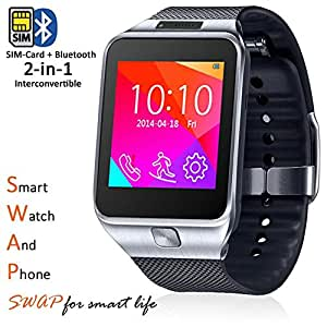 Indigi Stylish GSM Wireless Wrist Watch Cell Phone w Bluetooth Camera Unlocked AT T T-Mobile Straightalk Silver