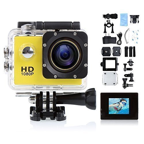 Blusmart Pro 710 12mp Sports Action Camera 120 Degree Waterproof Diving Video DVR with 2 Batteries and Free Accessories Kit (Yellow, 1.5 Inch)