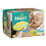 Pampers Swaddlers Diapers Size 2 Economy Pack Plus 204 Count
