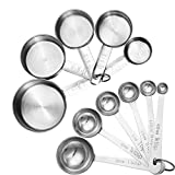 Accmor 11-Piece Stainless Steel Measuring Spoons/Cups Set - Premium Stackable Tablespoons Measuring Set for Dry and Liquid Ingredients - Prefect for Cooking or Baking