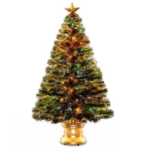 """National Tree Szrx7-100R-48 Fiber Optic """"Radiance"""" Fireworks Tree With Top Star Gold And Gold Revolving Led Base, 48-Inch"""