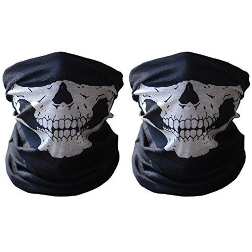 [HAMIST Seamless Skull Face Tube Mask Black - 2 Pack] (Biker Teen Costumes)