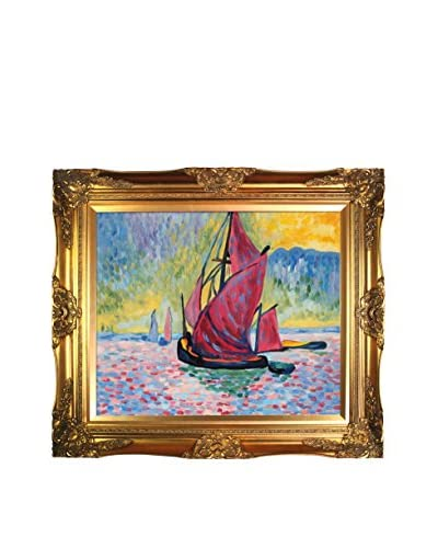 "Andre Derain's ""The Red Sails"" Framed Hand Painted Oil On Canvas, Multi"