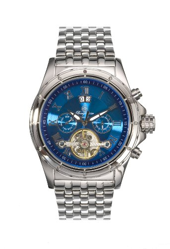 Burgmeister Royal Automatik BM127-131 Herren Automatik Uhr Edelstahl silber blau Tag/Datum/Monat offene Unruh