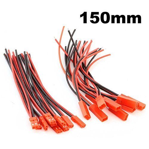 Hobbypower JST Connector 2 Pin with Silicone Wire Cable 150mm(pack of 10pairs)