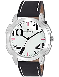 Swisstone SW-GR102-WHT-BLK White Dial Black Strap Analog Wrist Watch For Men/Boys