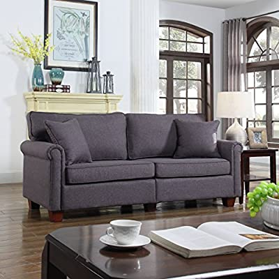 Classic 73-inch Love Seat Living Room Linen Fabric Sofa