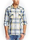 GUESS Men's Austin Western Slim-Fit Long Sleeve Tropic Plaid Shirt Regetta Blue