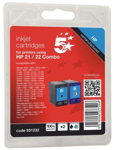 5 Star Office SD367AE Tintenpatrone für HP 21 + 22 Inhalt 2 Pack, 4-farbig, je 1x schwarz/cyan/magenta/gelb