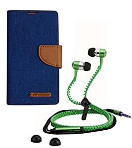Aart Fancy Wallet Dairy Jeans Flip Case Cover for Apple4G (Blue) + Zipper Earphones/Hands free With Mic *Stylish Design* for all Mobiles- computers & laptops By Aart Store.