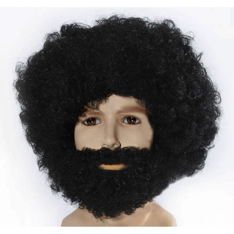Black Afro, Beard and Mustache