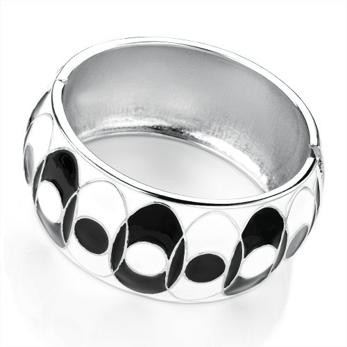 Hinged Fashion Bangle Black & White