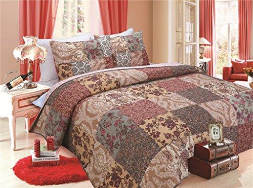 Luxury Retro Floral Stitching Cotton Patchwork Bedspread Sets Quilt Queen Size