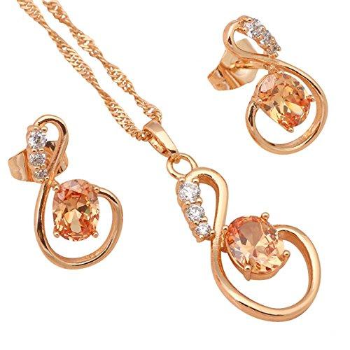 Fashion con speciale Arancione zirconi Overlay moda gioielli per le donne placcato oro 18K set di gioielli collana orecchini js503a