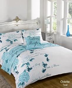 Dreamscene King Polyester Odette Teal Duvet Cover Bedding Set