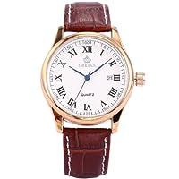 ORKINA Elegant Men's Brown Leather Analog Date Quartz Wrist Watch Gift ORK158